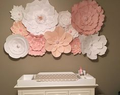 *** All Of Our Items are Custom Made to Order! Please Check Processing Time on the Shipping Tab or Send us a Message to Confirm, Thanks So Much!! ***  Paper Flower Backdrops are a cool and refreshing way to enhance the decor for your wedding or event. We send you the flowers and you use them to create a dream DIY backdrop for your event.  Flowers come completed (no assembly required). Offering 15 paper flowers in your choice of up to 5 colours and matching paper and/or jewel centres…