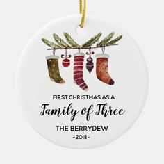 First Christmas as a Family of Three ornament - baby shower ideas party babies newborn gifts Christmas Gifts For Parents, First Christmas Ornament, Christmas Gifts For Mom, Babies First Christmas, Christmas Balls, Christmas Themes, Christmas Desserts, Christmas Crafts, Creative Christmas Gifts