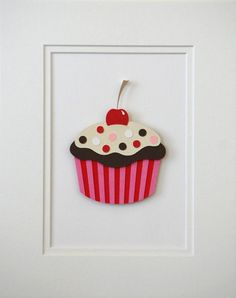 Cupcake Wall Decor Children Wall Decor Matted Art by WallDuds