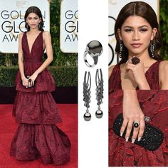 Throwback for Zendaya's @zendaya look for the 2015 Golden Globes dazzling in Yoko London Pearls Jewelry @yokolondonpearls ring and earrings with Tahitian Black Pearls and a fabulous Lydia Courteille @lydiacourteille ring. Her dramatic Burgundy Lace Embroidered Tiered Gown Featuring a Plunging Neckline was from Marchesa's @marchesafashion Pre-Fall 2016 Collection.  #purplebyanki #diamonds #luxury #loveit #jewelry #jewelrygram #jewelrydesigner #love #jewelrydesign #finejewelry…