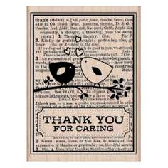 Merci carte Rubber Stamp Love Birds timbre sur par FebruaryDesign, $9.90