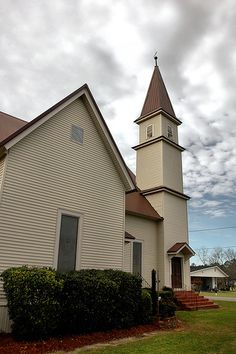 Pavo GA Brooks Thomas County United Methodist Church High Steeple Architecture Picture Image Photo Copyright Brian Brown Photographer Vanishing South Georgia USA 2012