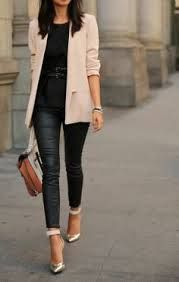 <3 this outfit of leather trousers, black top and camel coat with silver pointed toe pumps to add a touch of metallic...x