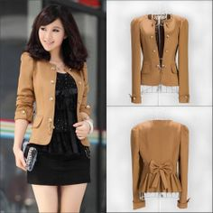 Womens Fashion Puff Long Sleeve Slim suit jacket Blazer Outerwear  Solid Coats