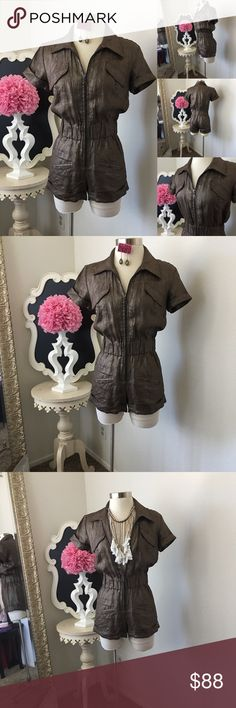 🌺 Marisa K  Fabulous Bronze Brown Short Romper 🌺 Marisa K  Fabulous Bronze Brown Short Romper w/ Gold Shimmer - Short Sleeve - Cuff Short Style w/ Two Pockets  - Front  Zipper - Romper is not Lined  $150 - New w /Tag Size: Small  Fabric : Linen  🌺 Accessories Not Included But Are also for Sale  Please Check out my Other Items in my GIRLe B Posh Shoppe'  Like us on FB   www.facebook.com/girleboutique Thanks For Looking & Always Let your Clothes get All the Attention 💋 ❌⭕️, Christina GIRLe…