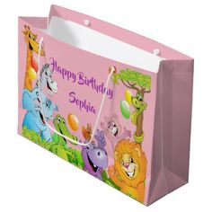 Safari jungle happy birthday smiling animals pink large gift bag - party gifts gift ideas diy customize