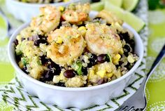 Tequila-Lime Shrimp and Quinoa Bowls by Iowa Girl Eats
