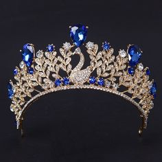 various india Magnificent Blue Rhinestone Peacock Bridal Crown Tiaras Fashion Gold Crystal Diadem for Women Wedding Hair Jewelry Accessorie,Christmas Gift Bridal Crown, Bridal Tiara, Floral Headband Wedding, Crown For Women, Crystal Crown, Royal Jewelry, Silver Jewelry, Tiaras And Crowns, Pageant Crowns