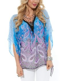 Take a look at this Blue Paisley Sheer V-Neck Top by Lily on #zulily today!