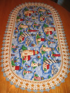 Aunt Roo's Lighthouse fabric table runner w/ crocheted by auntroo, $26.00