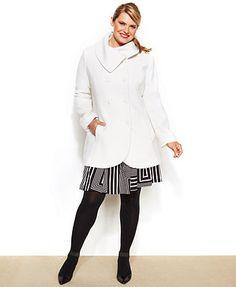 Jessica Simpson Plus Size Envelope-Collar Double-Breasted Coat