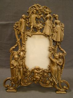 Vintage Victorian Style Colonial Couples Cast Iron Figural Dresser Mirror Frame | eBay