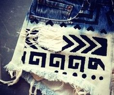 bleached, decorated shorts. Doing this