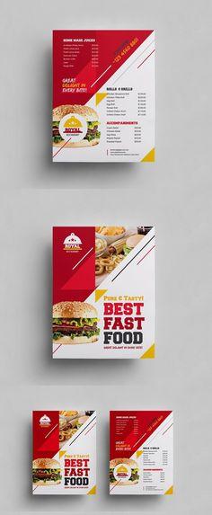 ideas for design food flyer templates Brosure Design, Graphic Design Flyer, Food Design, Sport Design, Restaurant Menu Card, Restaurant Menu Design, Brochure Inspiration, Flyer Design Inspiration, Sport Inspiration
