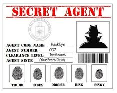 Items similar to Secret Agent, Spy, Detective, CIA Printable ID Card Party Favor Badge in PDF Format on Etsy Templates Printable Free, Printables, Secret Agent Party, Spy Birthday Parties, Detective Theme, Badge Template, Spy Kids, Holiday Club, Mystery Parties