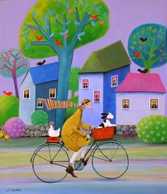 View Iwona Lifsches's Artwork on Saatchi Art. Find art for sale at great prices from artists including Paintings, Photography, Sculpture, and Prints by Top Emerging Artists like Iwona Lifsches. Cycle Painting, Original Paintings, Original Art, Bicycle Art, Cycling Art, Whimsical Art, Art Plastique, Folk Art, Saatchi Art