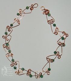 Fun Copper links Jade necklace with 6mm Green Jade beads.