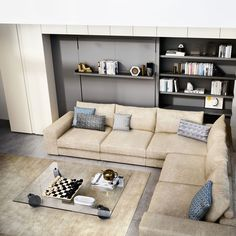 The Tango Sectional wall bed opens vertically as a queen size bed. Stow away bed for sofa. 3 sofa options available - 3 seat, 4 seat or sectional. Sofa Bed, Sectional Sofa, Built In Sofa, One Room Apartment, Convertible Furniture, Resource Furniture, Transforming Furniture, Tango, Bed Wall