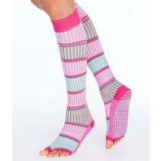 Tucketts Fun Stripe Knee-High Socks With Open Toes