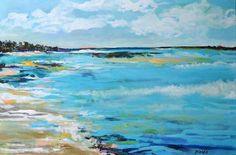 Original Painting Seascape Beach Art Landscape 36 x 24 Nautical  Modern Fine Art  by Karen Fields