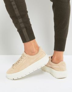 bad860b9b35814 Puma Platform Trace Sneakers In Sand With Contrast Sole