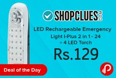Shopclues #DealoftheDay is offering I-Plus 2 in 1 – 24 LED Rechargeable Emergency Light + 4 LED Torch just Rs.129. Great Emergency Light ABS body for camping, automotive, workshop, power blackouts, emergencies & more. Shopclues Coupon Code – SCLELLOISKI2  http://www.paisebachaoindia.com/led-rechargeable-emergency-light-i-plus-2-in-1-24-4-led-torch-just-rs-129-shopclues/