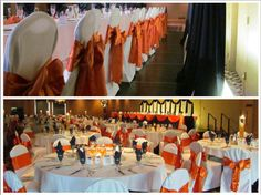 Blue, orange, and white linens for a Detroit Tigers themed wedding at The Pinnacle