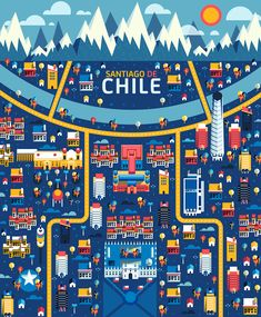 Chile, Chili, Santiago De Chile, Illustration