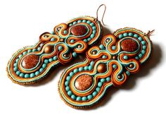 fall in the rokies  goldstone & turquoise  soutache by KimimilaArt