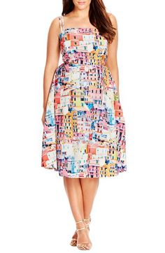 6c4986bf09ee6 City Chic  Holiday Romance  Print Fit   Flare Dress (Plus Size)