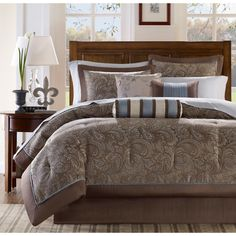 Traditional Madison Park Whitman Blue 12 Piece Bed in a Bag w/ Sheet Set #MadisonPark #ClassicPatternedTraditional
