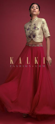 Buy Online from the link below. We ship worldwide (Free Shipping over US$100)  Click Anywhere to Tag Candy Red Skirt And Beige Crop Top With Embroidered Floral Pattern Online - Kalki Fashion Candy red skirt in georgette with zardozi embroidered waist.Paired with a beige crop top in raw silk.Adorned with thread and zardozi embroidered floral pattern.