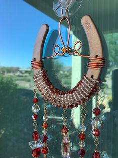 Beaded Horseshoe, Horseshoe Crafts, Sun Catcher, Dream Catcher, Crystal Wind Chimes, Deep Red Color, Beads And Wire, Red Glass, Metallic Paint
