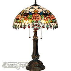 Tiffany Tafellamp Zindra Rose  Een bijzonder mooie fleurige klassieke tafellamp. Uitgevoerd in veel verschillende kleuren met rozen en pauwen. Helemaal met de hand gemaakt van echt Tiffanyglas. Dit originele glas zorgt voor de warme uitstraling. De voet is vervaardigd van brons. Met 2x grote fitting (E27). Met 2 schakelaars aan de kap. Afmetingen: Hoogte: 64 cm Diameter Kap: 42 cm