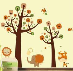 Nuovo leone animale gufo albero vinile adesivi murali bambini bambini decorazioni per la casa carta da parati decalcomania art deco nuova vignetta, grande cc6964ab