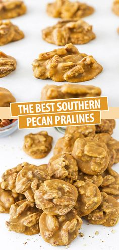 These are seriously the BEST Southern Praline Pecans! With the amazing flavor of brown sugar and butter, these are pure heaven! A little bit candy and a little bit cookie, they melt right in your mouth! #pecanpralines #thanksgiving #christmascookies Pecan Recipes, Candy Recipes, Baking Recipes, Dessert Recipes, Cookie Recipes, Baking Desserts, Dessert Bars, Baking Ideas, Praline Candy