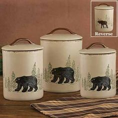 Marvelous The Bear And Moose Canister Set Will Naturally Enrich Your Rustic Kitchen  Decor With Adorable Wildlife