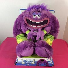 Monsters University Art Plush Disney Pixar Stuffed Animal Furry Monster Purple #Pixar