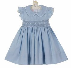 NEW Petit Bebe by Anavini Light Blue Smocked Dress with Angel Sleeves