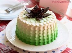 Green Ombre Petal Cake with Chocolate Rose