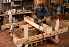 Little serious for my needs, but a router sled needs to be in the near future. Router Jig Turns Stumps into Beautiful Side Tables - Fine Woodworking Article