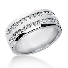 Double Row Channel Set Diamond Men's Wedding Band Ring