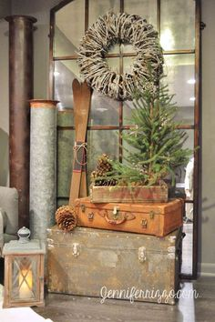 A country Christmas lodge-like display with rustic vintage items. Christmas Lodge, Noel Christmas, Primitive Christmas, Country Christmas, Christmas Ideas, Christmas Vignette, Christmas Displays, Christmas Swags, Primitive Snowmen