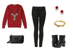Holiday Style - Casual Drop In Party Outfit - Black Skinny Jeans, Reindeer Christmas Sweater, Black Ankle Boots, Black Quilted Purse