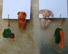 Clay asymmetric guinea pig and bunny veggie earrings