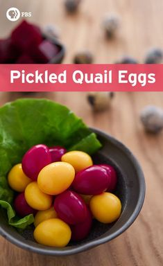 These pickled quail eggs take on an ultra-vibrant color by pickling them with ingredients like beets and curry powder. See more at PBS Food. Quail Recipes, Beet Recipes, Healthy Recipes, Jam Recipes, Canning Recipes, Vegetarian Recipes, Pickled Quail Eggs, Charcuterie Recipes, Pbs Food