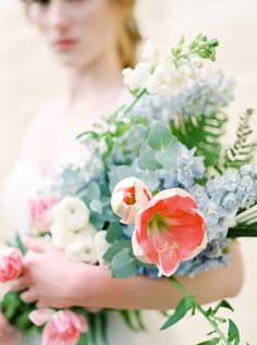 Pastel spring blooms: Photography : CHYMO & MORE - http://www.stylemepretty.com/destination-weddings/2016/04/04/rustic-dutch-wedding-inspiration/