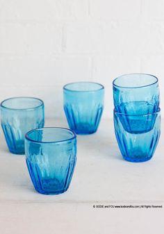Turquoise blue tumblers, set of 4