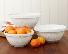 "Mason Cash Bowls --  If you watch ""Downton Abbey,"" you'll spot the bowls in Mrs. Patmore's kitchen.  ""Mason Cash debuted its first collection of earthenware in Derbyshire, England, in 1800. Traditionally the bowls have a white interior with a light brown exterior glaze with a distinctive embossed pattern."""