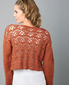 """Brandy Snap"" crocheted cropped cardi in UK crochet terms. Free pattern after free registration."